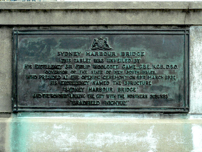 Harbour Bridge Opening Plaque