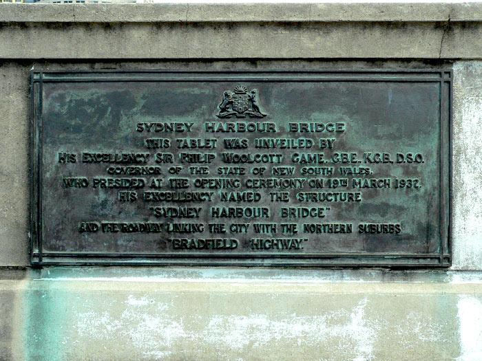 Harbour Bridge Opening Plaque
